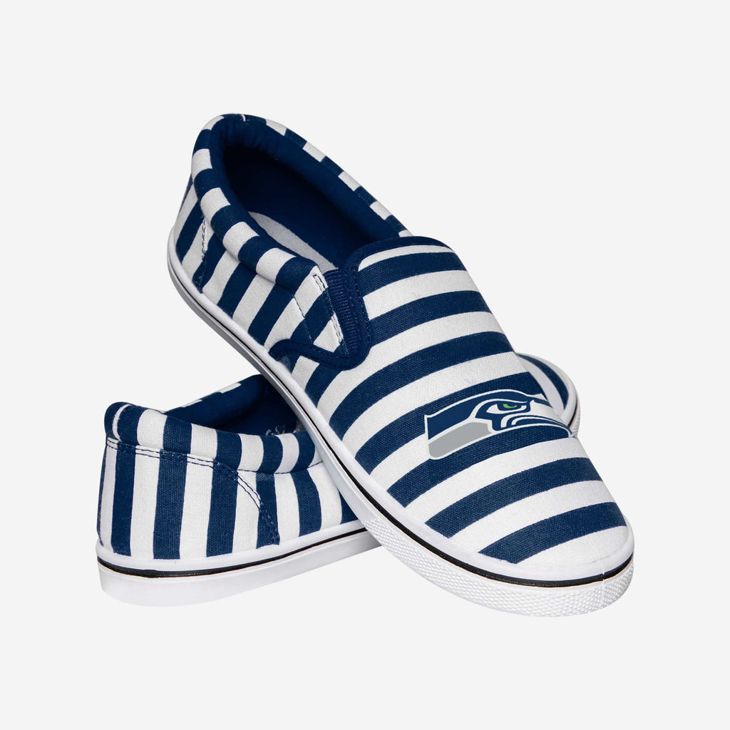 Seattle Seahawks Striped Slip On Canvas Shoe