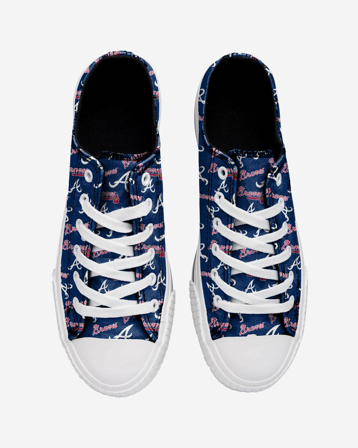 Atlanta Braves Womens Low Top Repeat Print Canvas Shoe FOCO - FOCO.com
