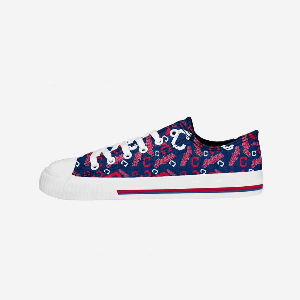 Cleveland Indians Womens Low Top Repeat Print Canvas Shoe FOCO - FOCO.com