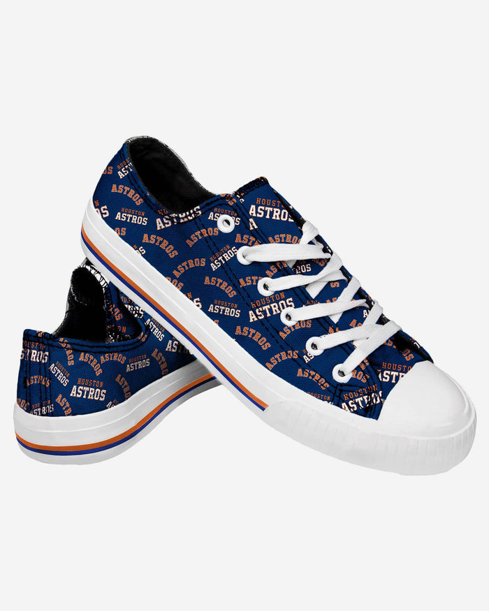 Houston Astros Womens Low Top Repeat Print Canvas Shoe FOCO - FOCO.com