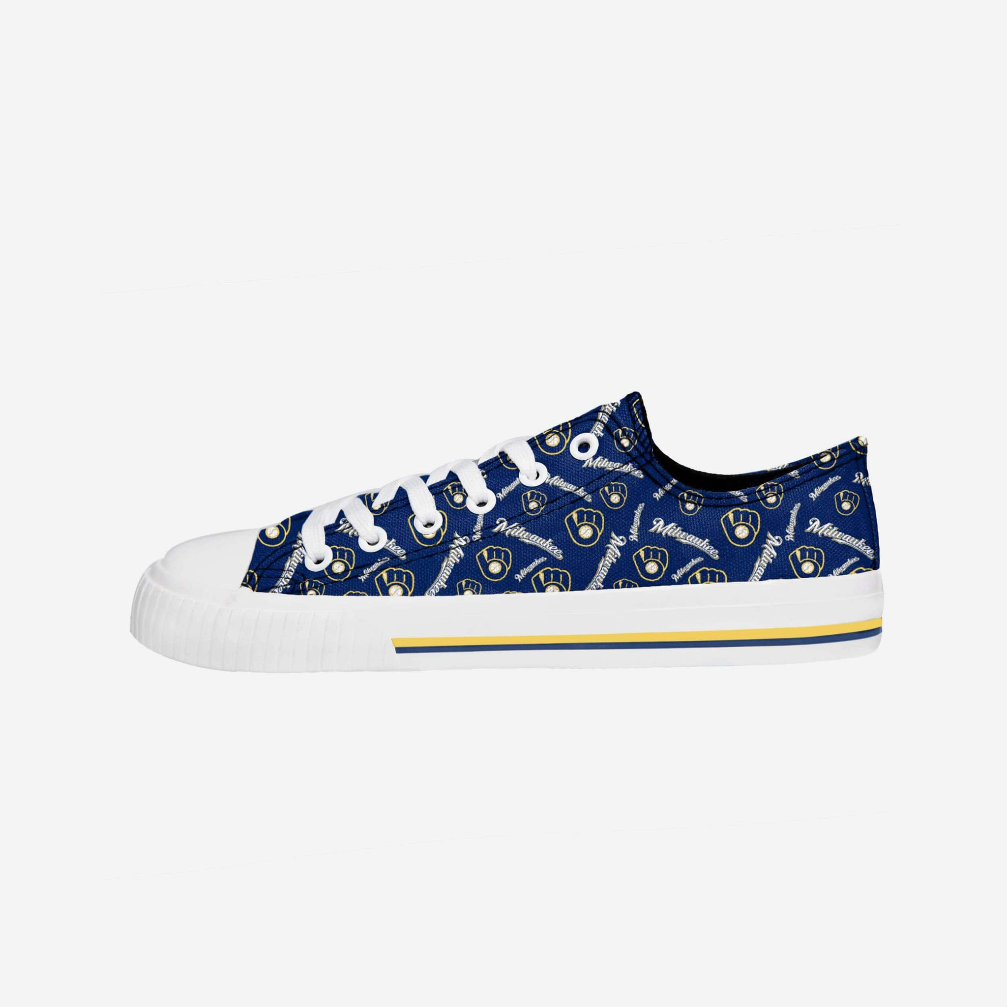 Milwaukee Brewers Womens Low Top Repeat Print Canvas Shoe FOCO - FOCO.com