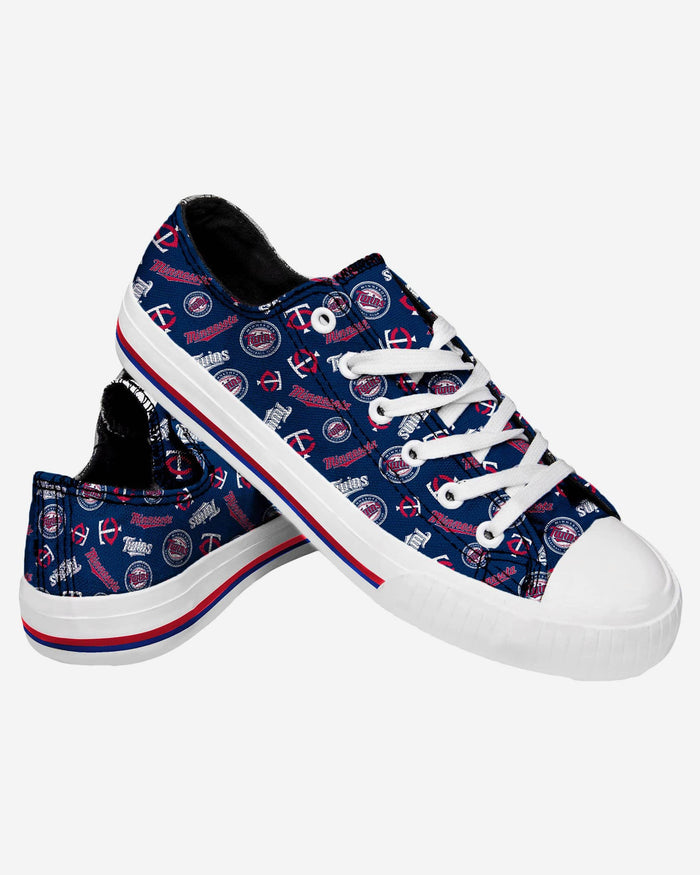 Minnesota Twins Womens Low Top Repeat Print Canvas Shoe FOCO - FOCO.com
