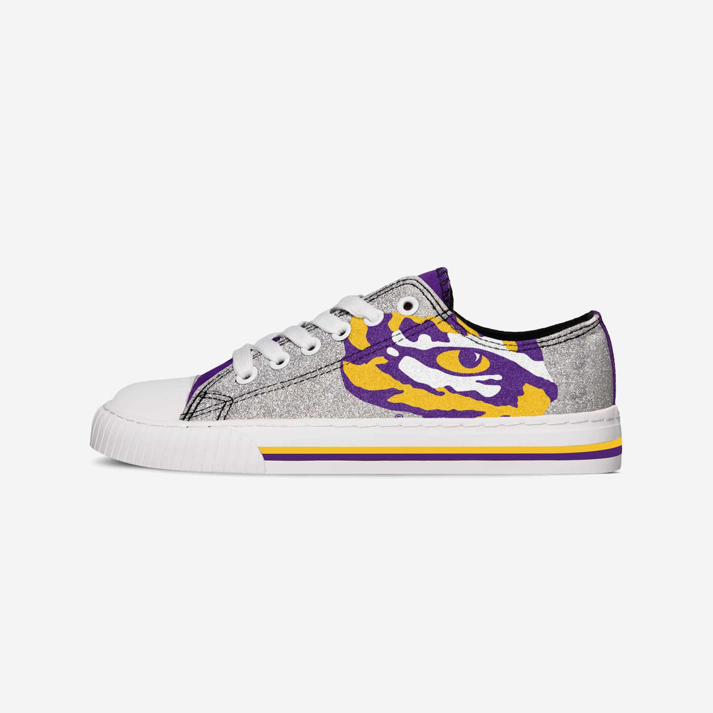 LSU Tigers Womens Glitter Low Top Canvas Shoe FOCO - FOCO.com