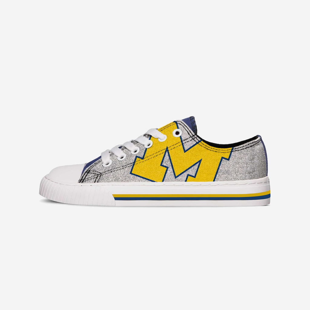 Michigan Wolverines Womens Glitter Low Top Canvas Shoe FOCO - FOCO.com