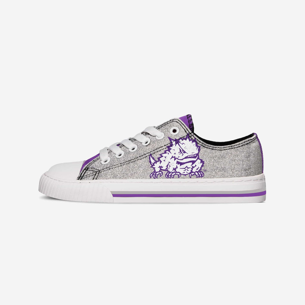 TCU Horned Frogs Womens Glitter Low Top Canvas Shoe FOCO - FOCO.com