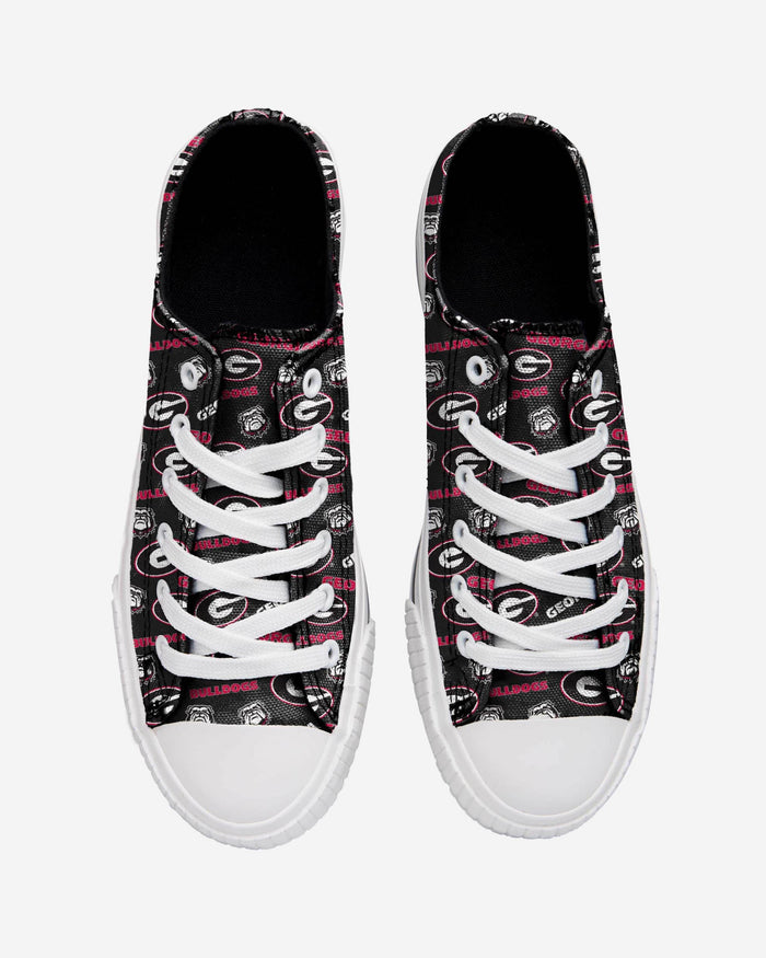 Georgia Bulldogs Womens Low Top Repeat Print Canvas Shoe FOCO - FOCO.com