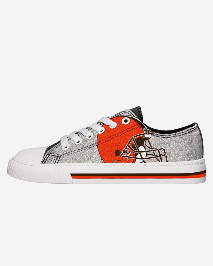 Cleveland Browns Womens Glitter Low Top Canvas Shoe FOCO 6 - FOCO.com