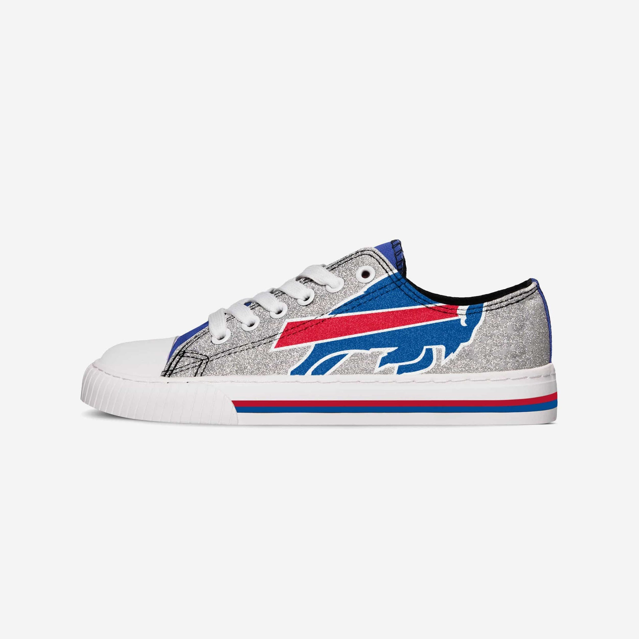 7-8 FOCO NFL Buffalo Bills Womens Canvas Stripe Shoes Medium Blue