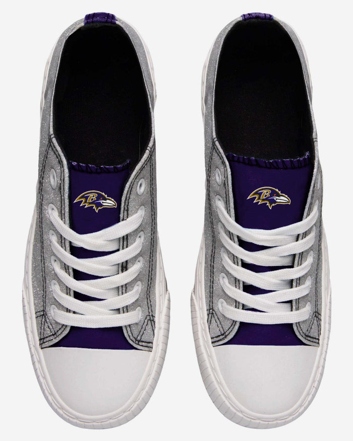 Baltimore Ravens Womens Glitter Low Top Canvas Shoe FOCO - FOCO.com