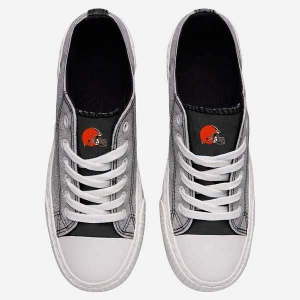 Cleveland Browns Womens Glitter Low Top Canvas Shoe FOCO - FOCO.com