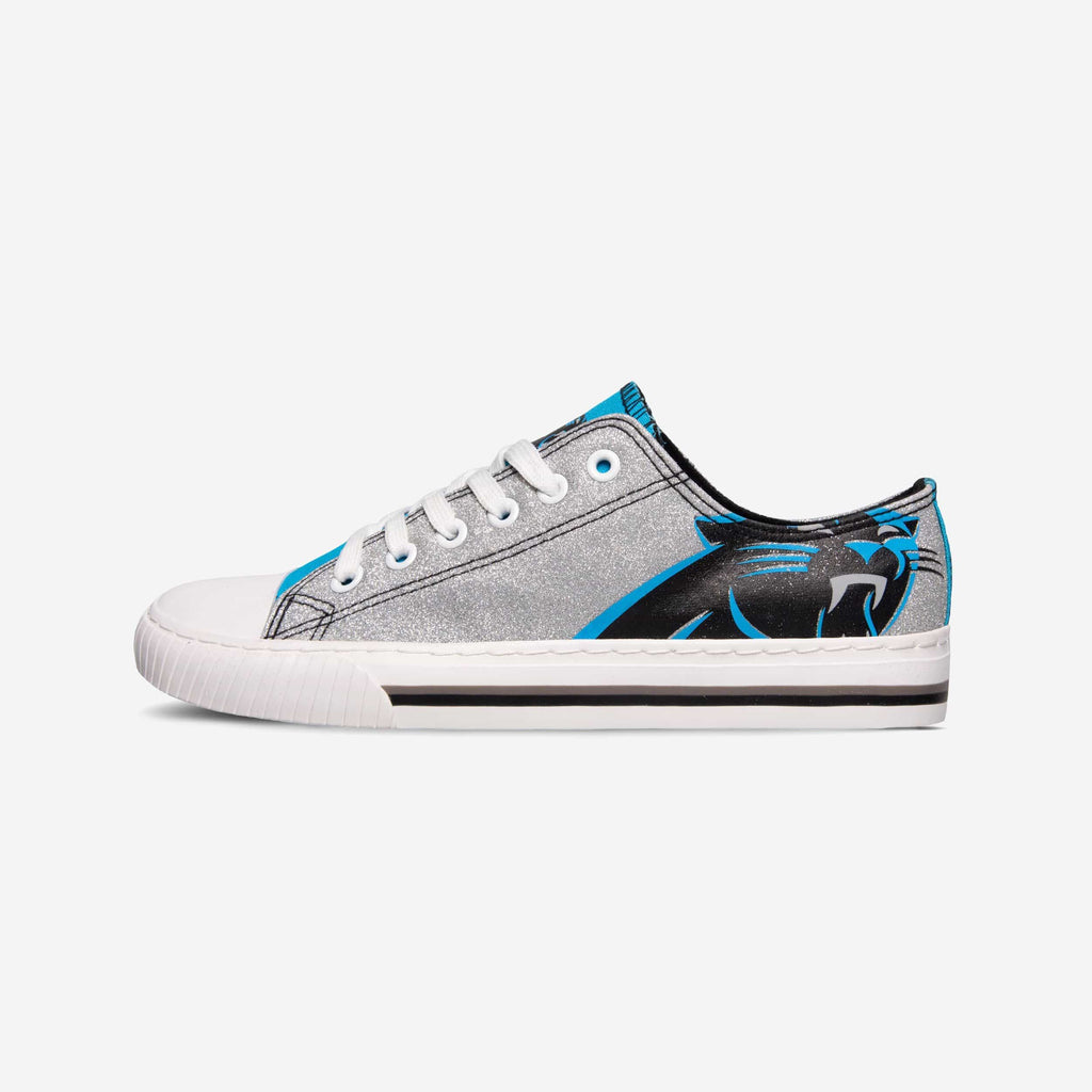Carolina Panthers Womens Glitter Low Top Canvas Shoe FOCO - FOCO.com