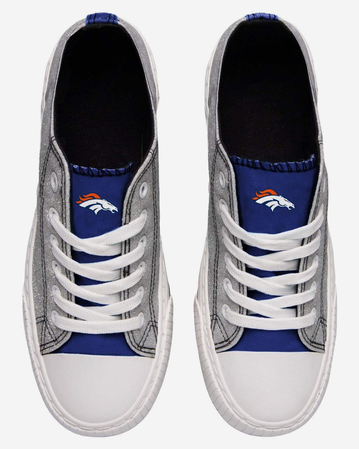 Denver Broncos Womens Glitter Low Top Canvas Shoe FOCO - FOCO.com