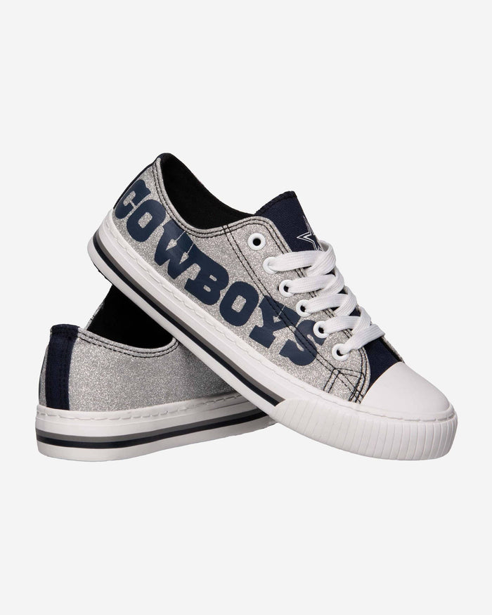 Dallas Cowboys Womens Glitter Low Top Canvas Shoe FOCO - FOCO.com
