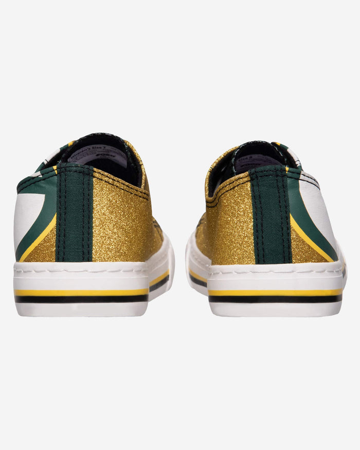 Green Bay Packers Womens Glitter Low Top Canvas Shoe FOCO - FOCO.com