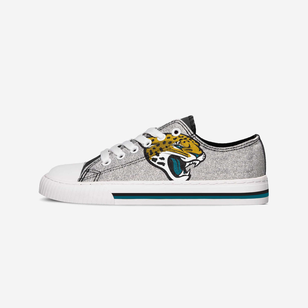 Jacksonville Jaguars Womens Glitter Low Top Canvas Shoe FOCO - FOCO.com