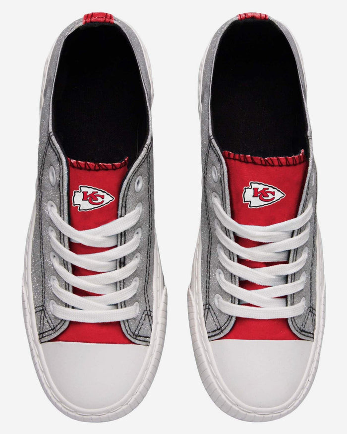 Kansas City Chiefs Womens Glitter Low Top Canvas Shoe FOCO - FOCO.com