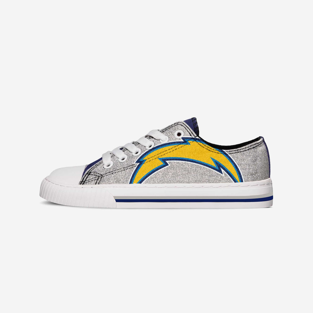 Los Angeles Chargers Womens Glitter Low Top Canvas Shoe FOCO - FOCO.com