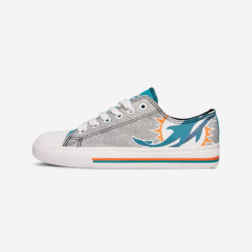 Miami Dolphins Womens Glitter Low Top Canvas Shoe FOCO - FOCO.com