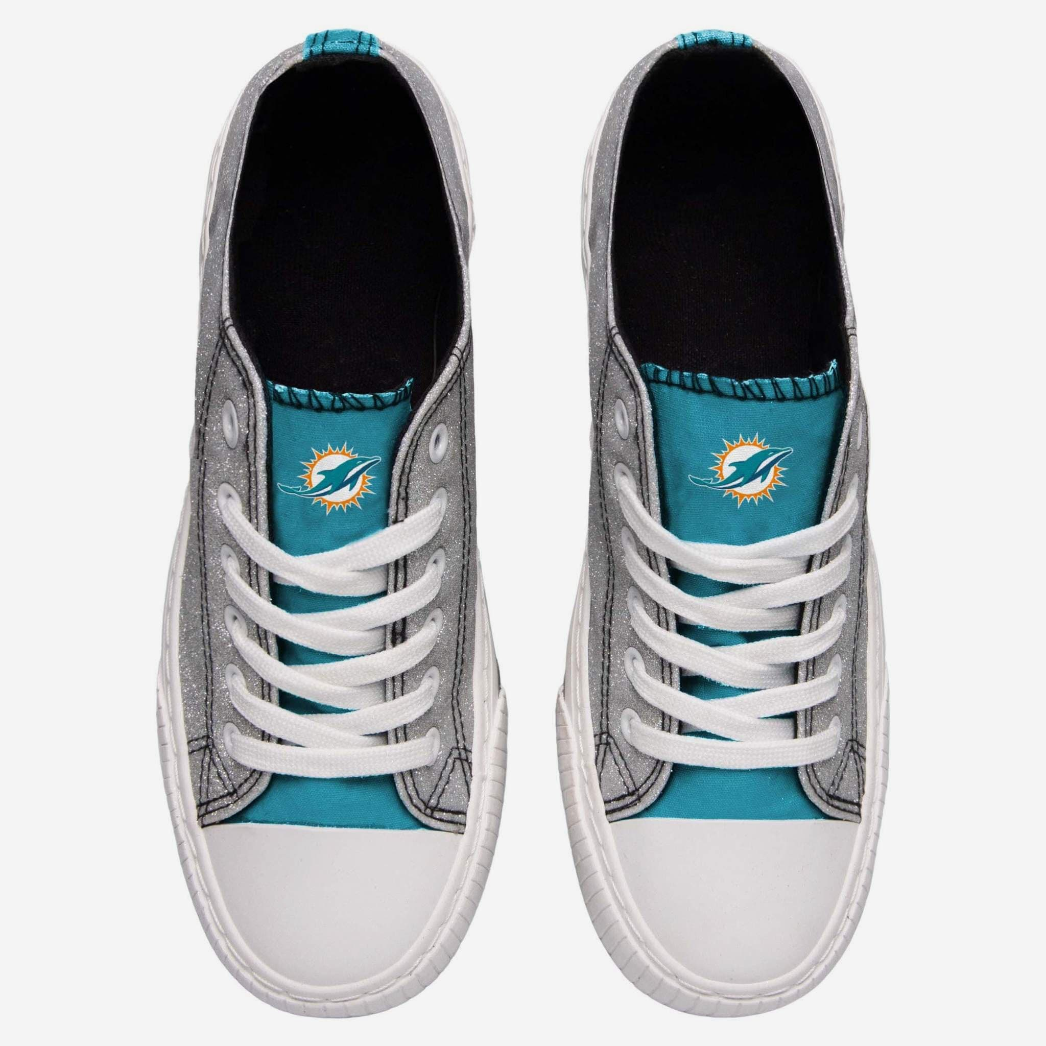 658a7286 Miami Dolphins Womens Glitter Low Top Canvas Shoe FOCO.com