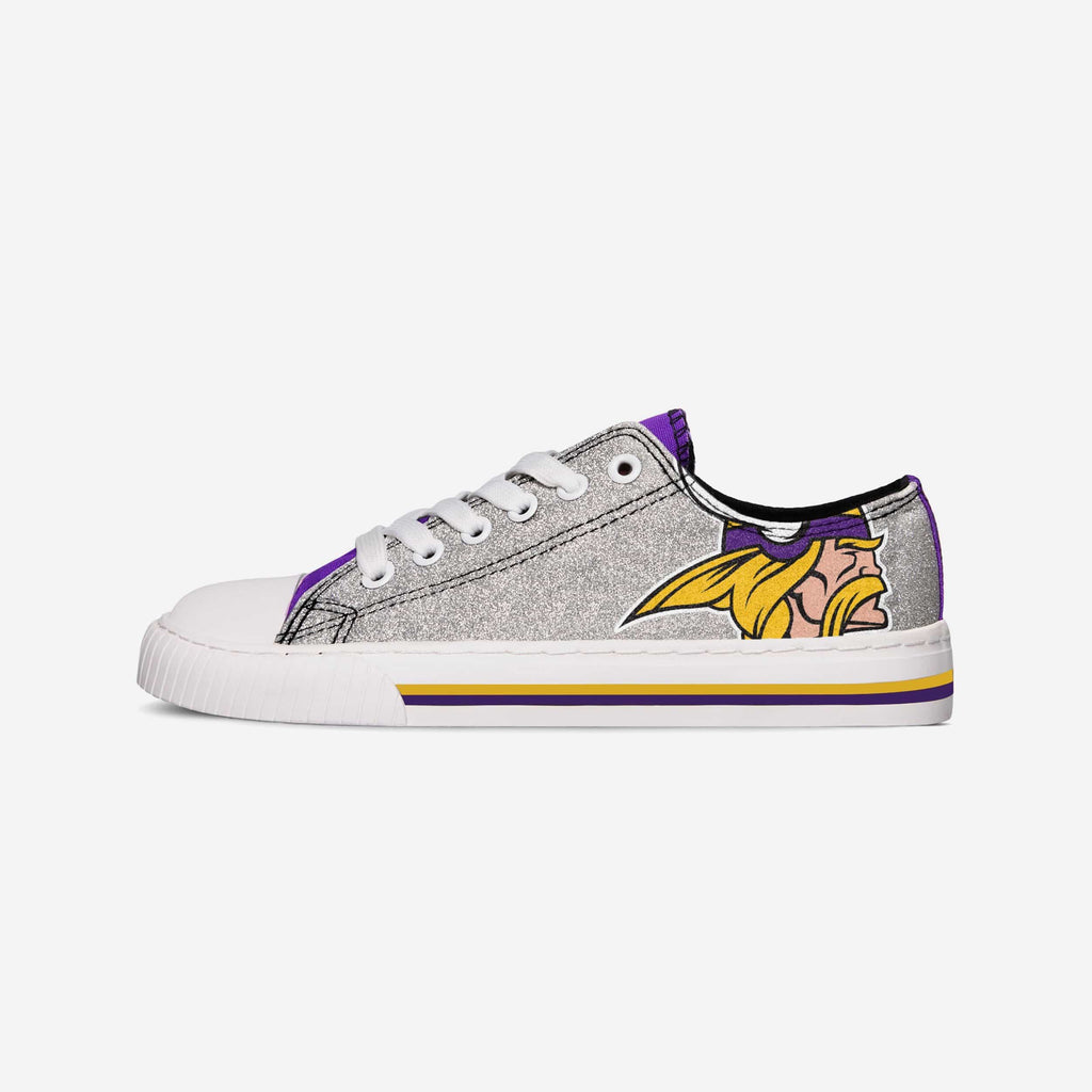 Minnesota Vikings Womens Glitter Low Top Canvas Shoe FOCO - FOCO.com
