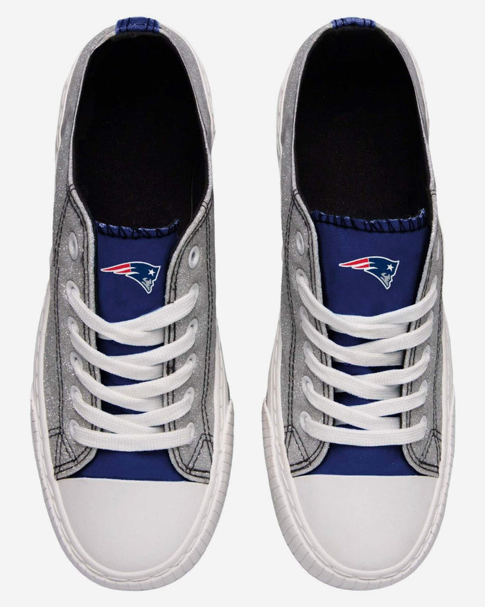 New England Patriots Womens Glitter Low Top Canvas Shoe FOCO - FOCO.com