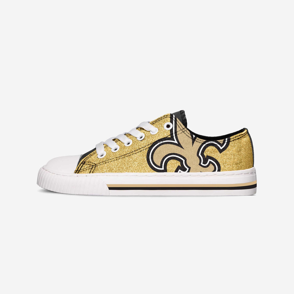 New Orleans Saints Womens Glitter Low Top Canvas Shoe FOCO - FOCO.com