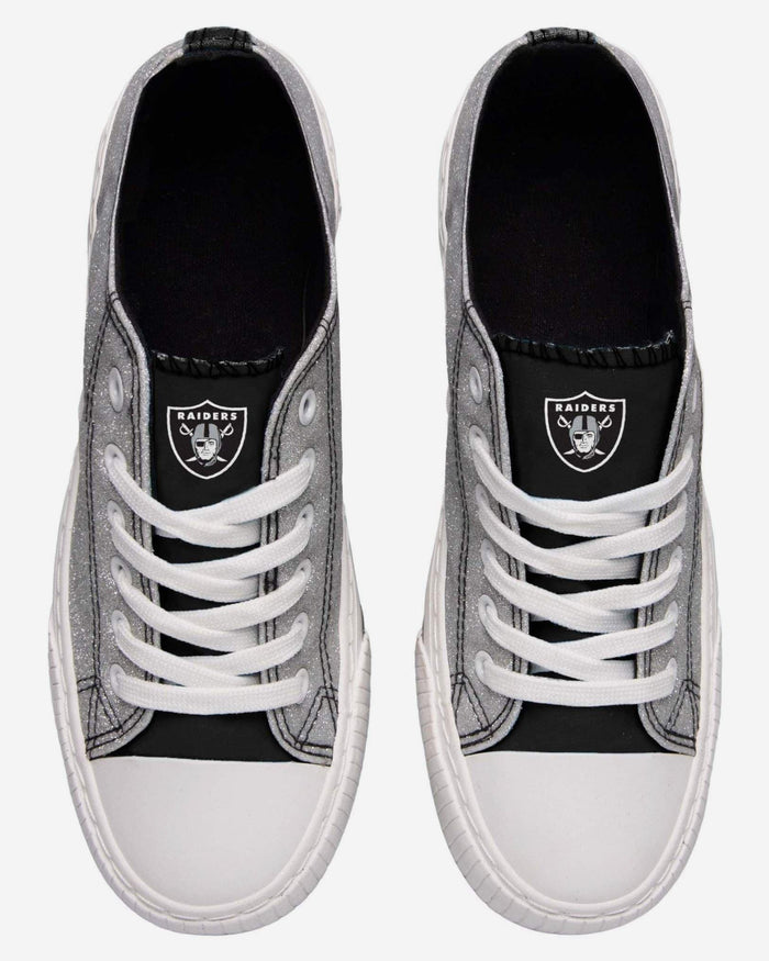 Oakland Raiders Womens Glitter Low Top Canvas Shoe FOCO - FOCO.com
