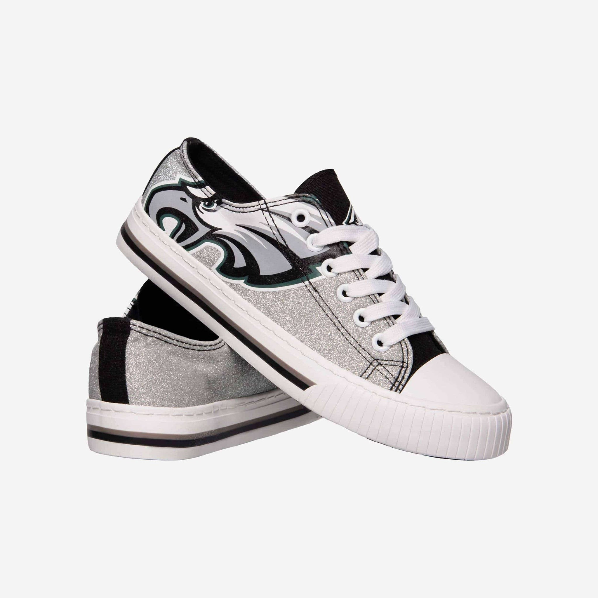 Philadelphia Eagles Womens Glitter Low Top Canvas Shoe FOCO - FOCO.com
