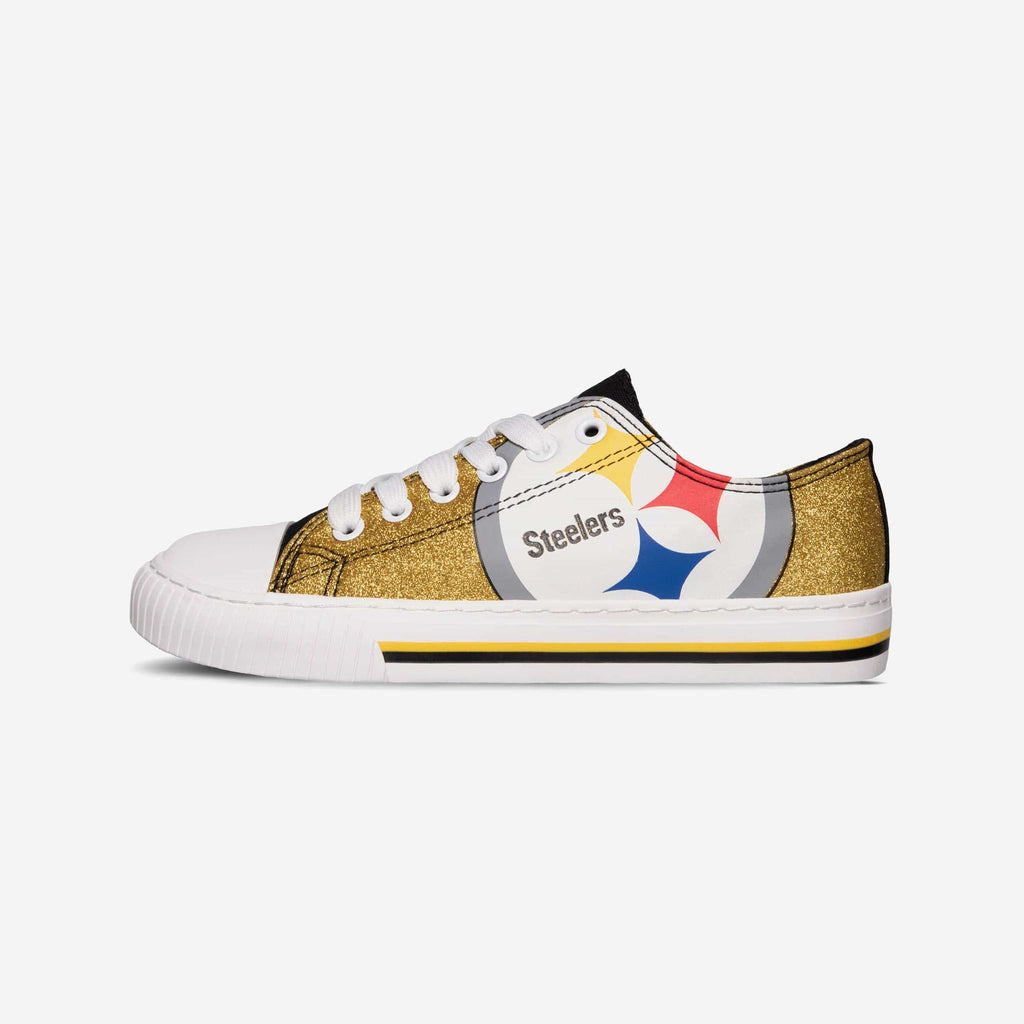 Pittsburgh Steelers Womens Glitter Low Top Canvas Shoe FOCO - FOCO.com