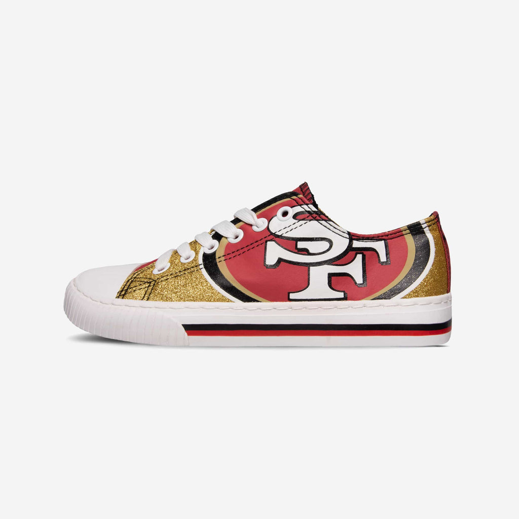 San Francisco 49ers Womens Glitter Low Top Canvas Shoe FOCO - FOCO.com