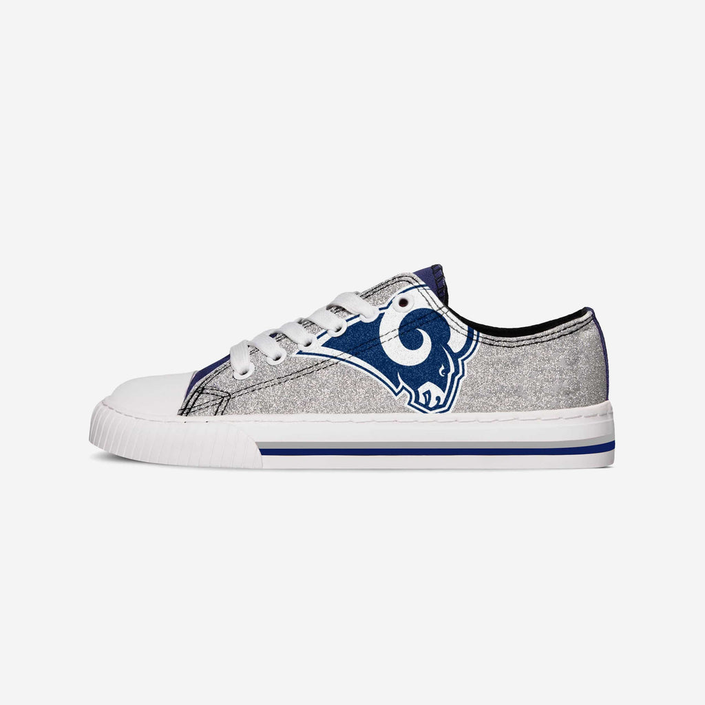 Los Angeles Rams Womens Glitter Low Top Canvas Shoe FOCO - FOCO.com