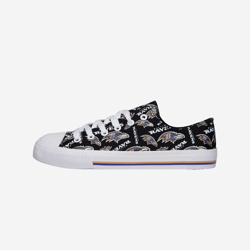 Baltimore Ravens Womens Low Top Repeat Print Canvas Shoe