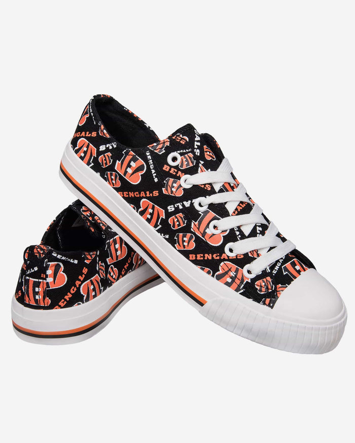 Cincinnati Bengals Womens Low Top Repeat Print Canvas Shoe FOCO - FOCO.com