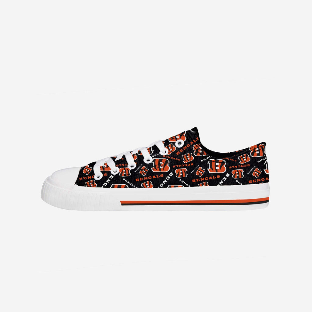 Cincinnati Bengals Womens Low Top Repeat Print Canvas Shoe