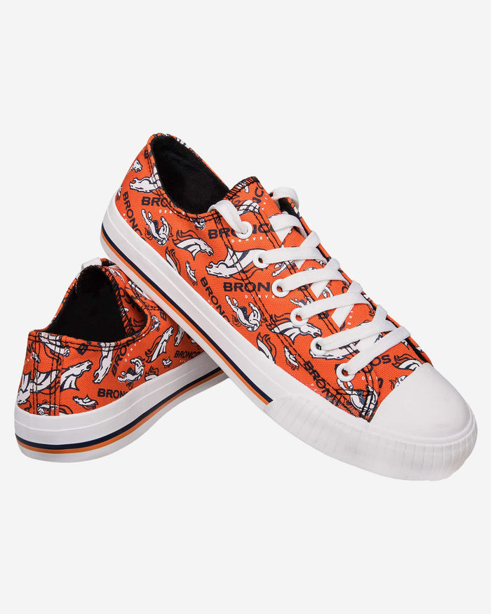 Denver Broncos Womens Low Top Repeat Print Canvas Shoe FOCO - FOCO.com