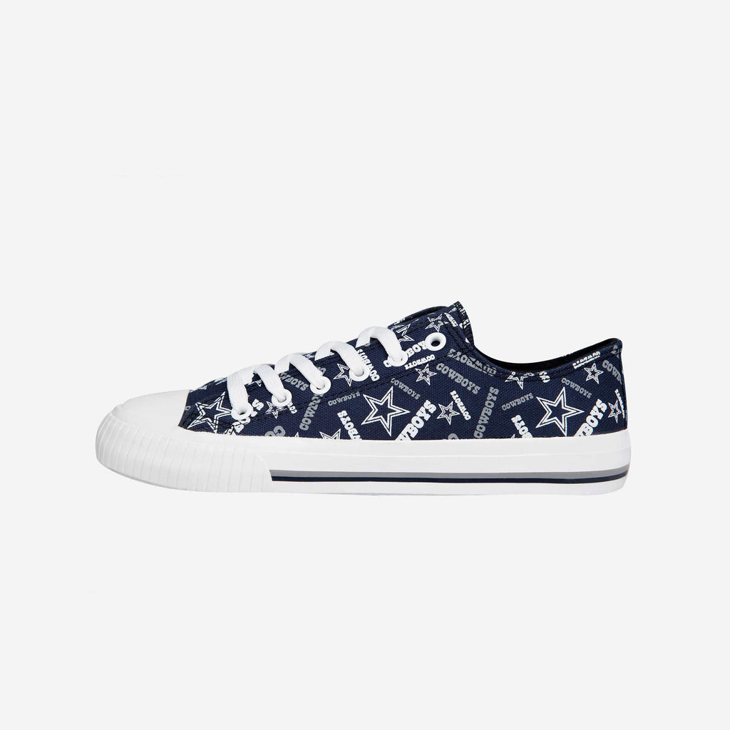 Dallas Cowboys Womens Low Top Repeat Print Canvas Shoe