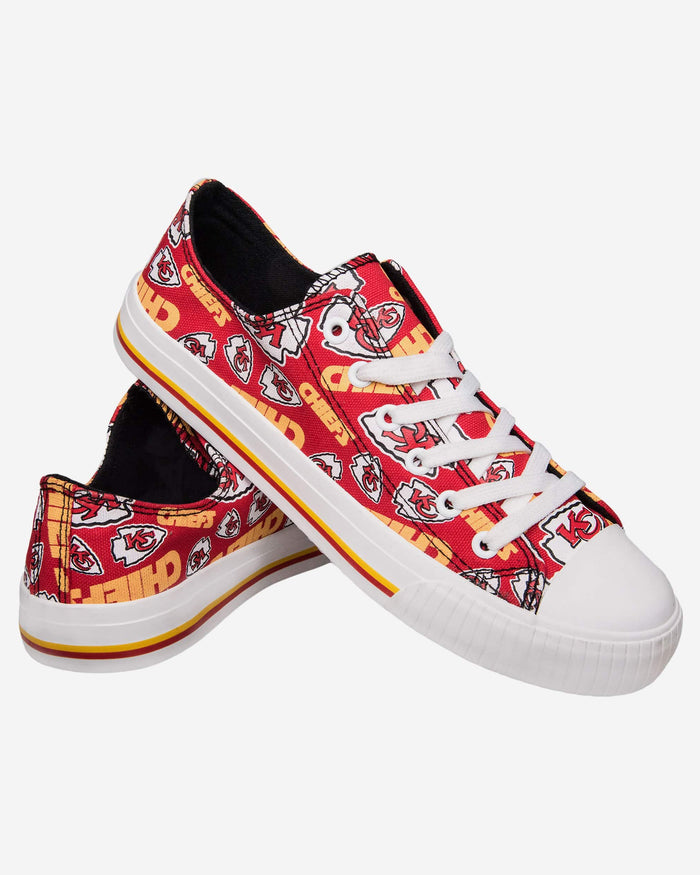 Kansas City Chiefs Womens Low Top Repeat Print Canvas Shoe FOCO - FOCO.com