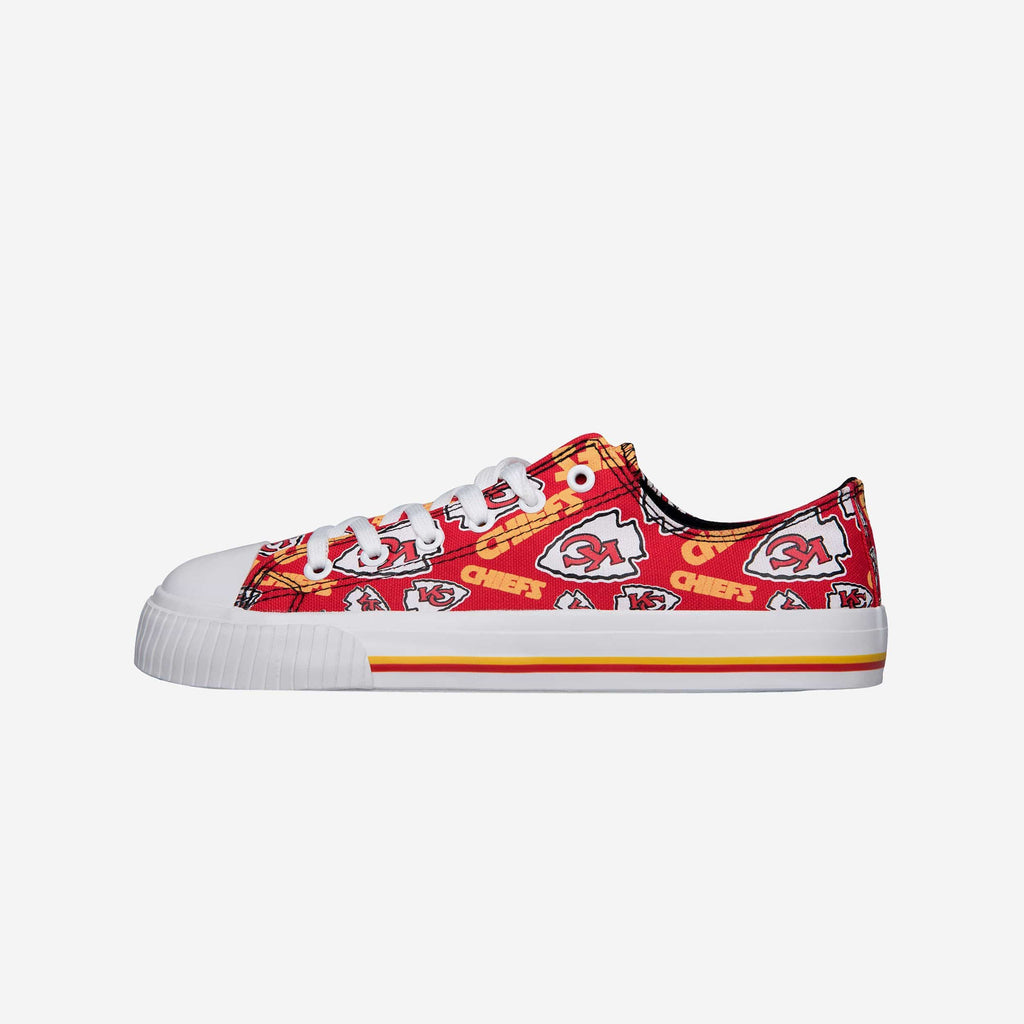 Kansas City Chiefs Womens Low Top Repeat Print Canvas Shoe