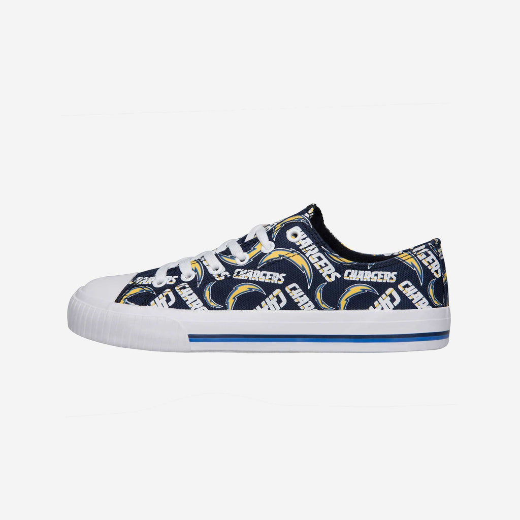 Los Angeles Chargers Womens Low Top Repeat Print Canvas Shoe