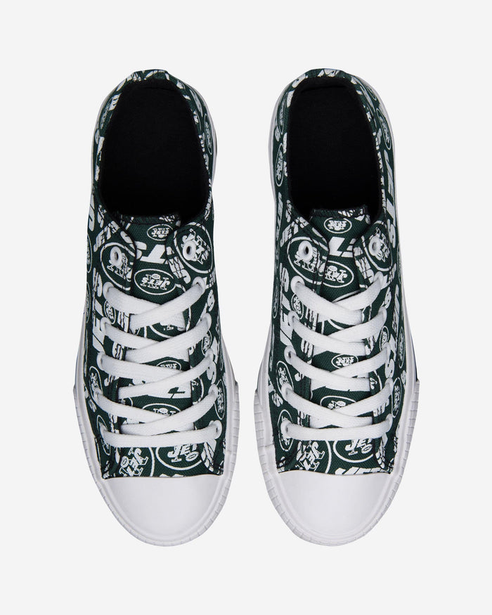 New York Jets Womens Low Top Repeat Print Canvas Shoe FOCO - FOCO.com