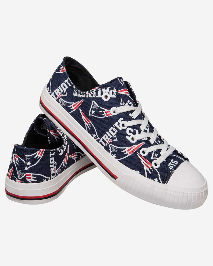 New England Patriots Womens Low Top Repeat Print Canvas Shoe FOCO - FOCO.com