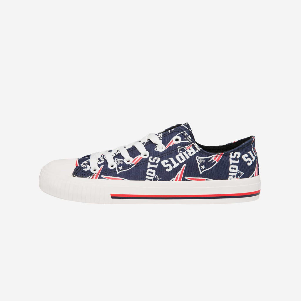 New England Patriots Womens Low Top Repeat Print Canvas Shoe