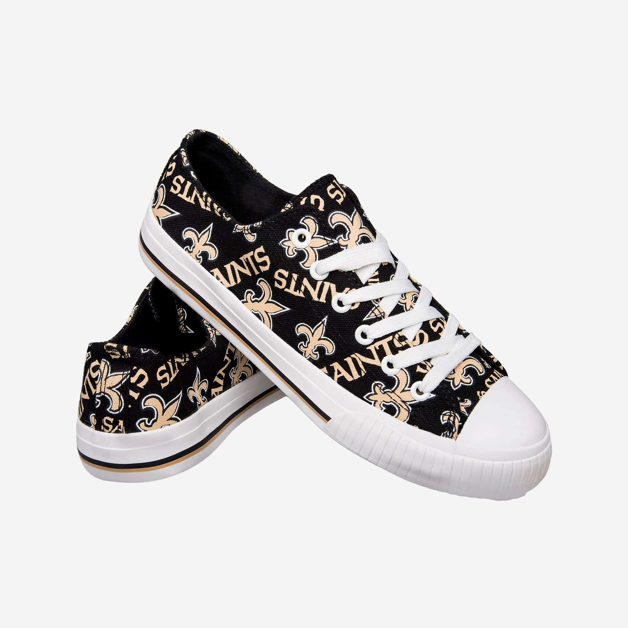 New Orleans Saints Womens Low Top Repeat Print Canvas Shoe FOCO - FOCO.com