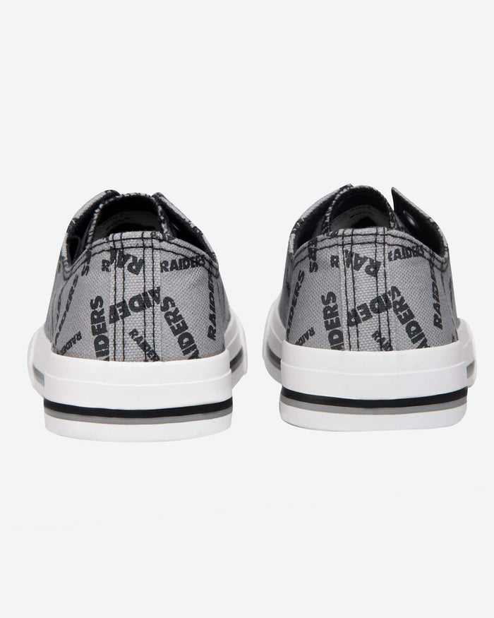 Oakland Raiders Womens Low Top Repeat Print Canvas Shoe FOCO - FOCO.com