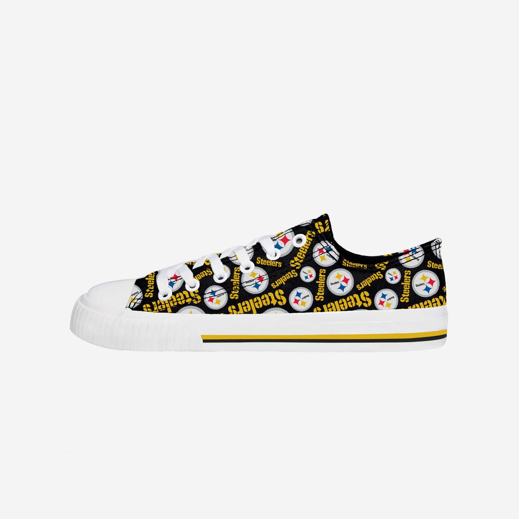 Pittsburgh Steelers Womens Low Top Repeat Print Canvas Shoe FOCO - FOCO.com