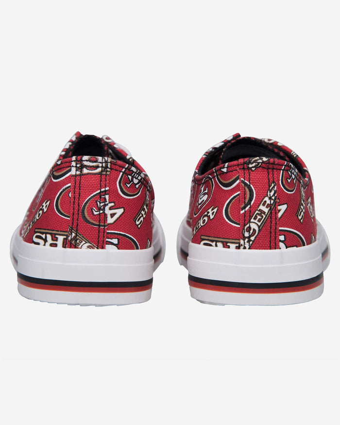 San Francisco 49ers Womens Low Top Repeat Print Canvas Shoe FOCO - FOCO.com