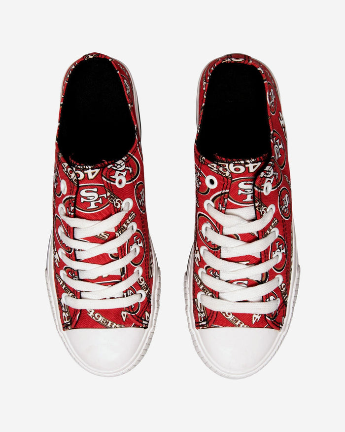 293863c7 San Francisco 49ers Womens Low Top Repeat Print Canvas Shoe FOCO.com