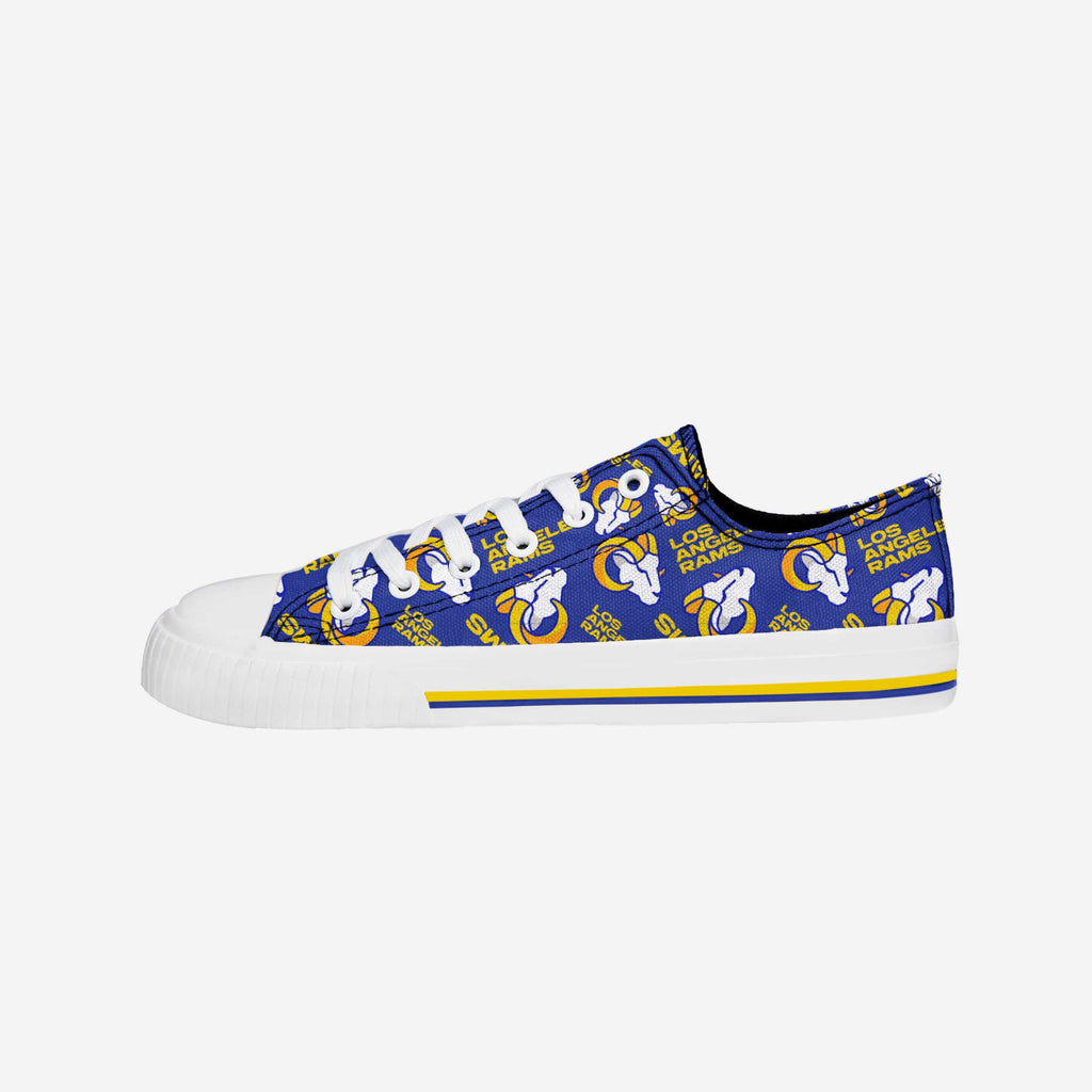 Los Angeles Rams Womens Low Top Repeat Print Canvas Shoe