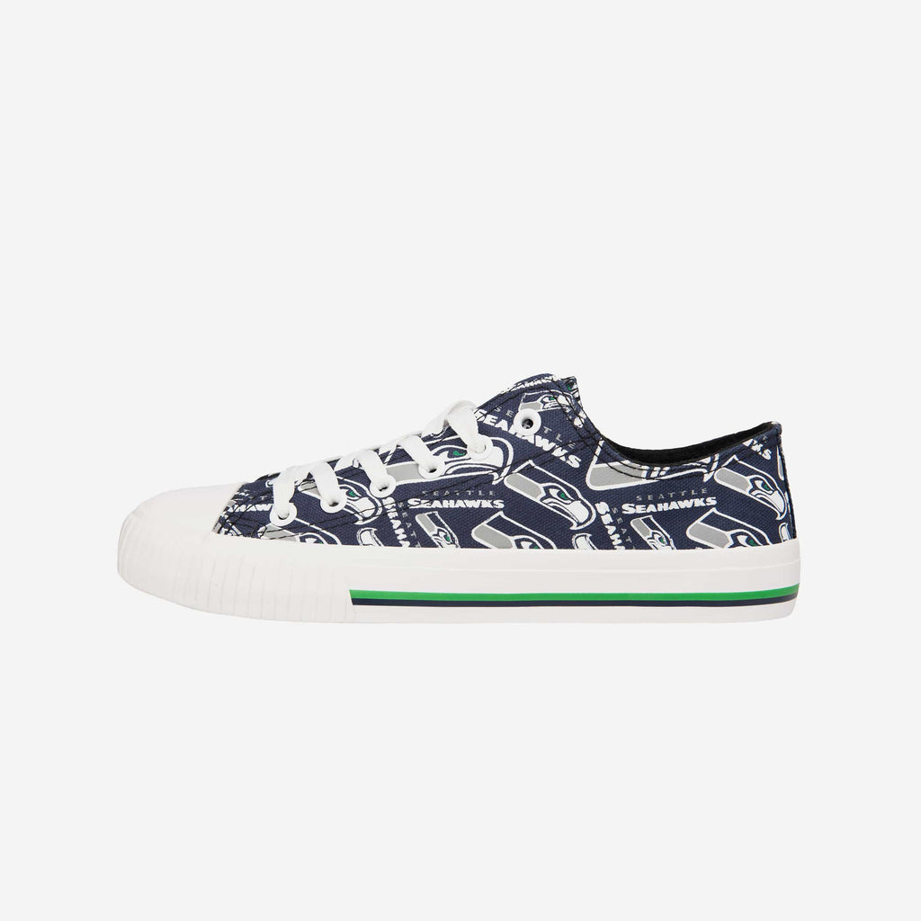 Seattle Seahawks Womens Low Top Repeat Print Canvas Shoe