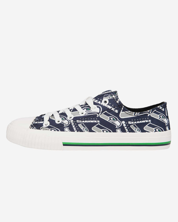 Seattle Seahawks Womens Low Top Repeat Print Canvas Shoe FOCO - FOCO.com